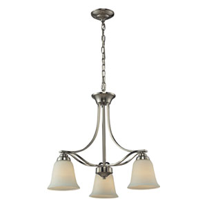 Malaga Brushed Nickel Three Light Chandelier