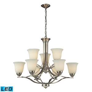Malaga LED Chandelier In Brushed Nickel with Antique Amber Glass