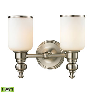 Bristol Brushed Nickel LED Two Light Bath Fixture