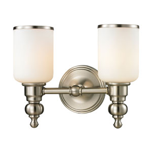 Bristol Brushed Nickel Two Light Bath Fixture