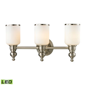 Bristol Brushed Nickel LED Three Light Bath Fixture