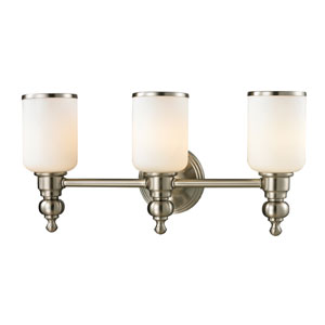 Bristol Brushed Nickel Three Light Bath Fixture