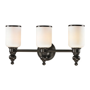 Bristol Oil Rubbed Bronze Three Light Bath Fixture