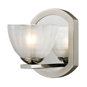Sculptive Polished Nickel and Matte Nickel One Light Bath Fixture