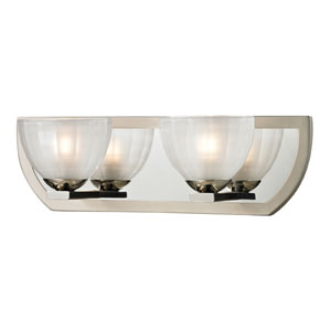 Sculptive Polished Nickel and Matte Nickel Two Light Bath Fixture
