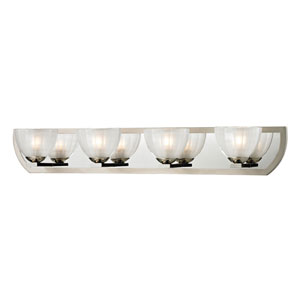 Sculptive Polished Nickel and Matte Nickel Four Light Bath Fixture