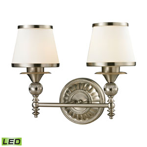 Smithfield Brushed Nickel LED Two Light Bath Fixture