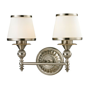 Smithfield Brushed Nickel Two Light Bath Fixture
