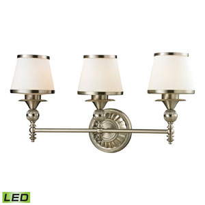 Smithfield Brushed Nickel LED Three Light Bath Fixture
