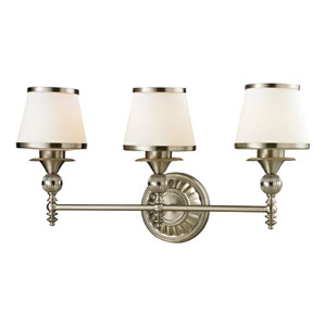 Smithfield Brushed Nickel Three Light Bath Fixture