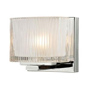 Chiseled Glass Polished Chrome One Light Bath Fixture