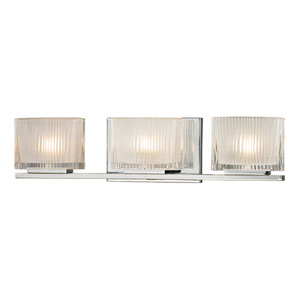 Chiseled Glass Polished Chrome Three Light Bath Fixture