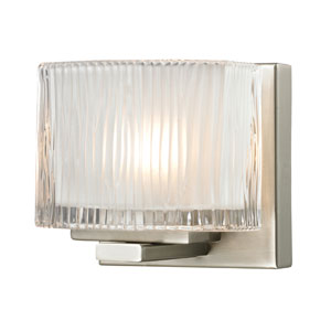 Chiseled Glass Brushed Nickel One Light Bath Fixture