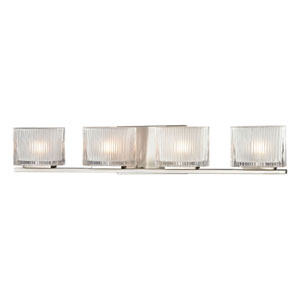 Chiseled Glass Brushed Nickel Four Light Bath Fixture
