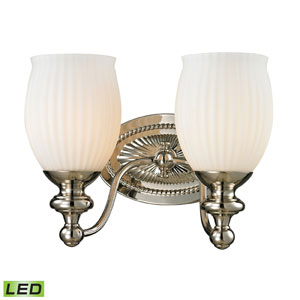 Park Ridge Polished Nickel LED Two Light Bath Fixture