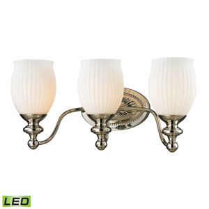 Park Ridge Polished Nickel LED Three Light Bath Fixture