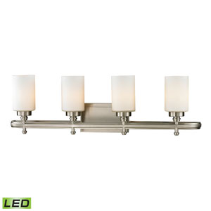 Dawson Brushed Nickel LED Four Light Bath Fixture