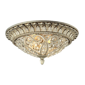 Andalusia Aged Silver Two Light Flush Mount Fixture