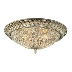 Andalusia Aged Silver Four Light Flush Mount Fixture