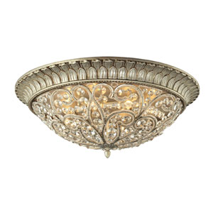Andalusia Aged Silver Eight Light Flush Mount Fixture