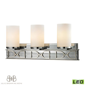 Campolina Polished Chrome and Brushed Nickel Three Light Bath Fixture