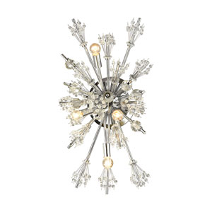Starburst Polished Chrome 13-Inch Four-Light Wall Sconce
