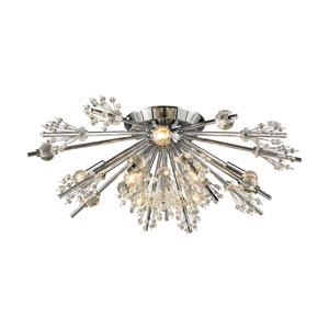 Starburst Polished Chrome 26-Inch Eight-Light Semi-Flush Mount