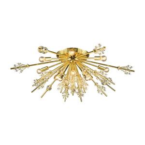 Starburst Polished Gold 34-Inch 12-Light Semi-Flush Mount