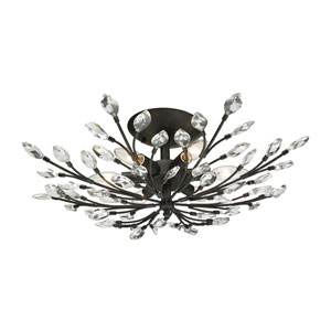 Crystal Branches Burnt Bronze Six-Light Semi Flush Mount