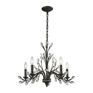 Crystal Branches Burnt Bronze Five-Light Chandelier