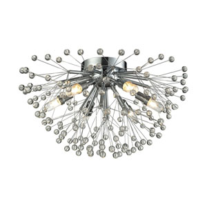 Starburst Polished Chrome Six-Light Semi Flush Mount