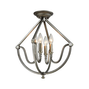 Stanton Weathered Zinc and Brushed Nickel 16-Inch Four-Light Semi-Flush Mount