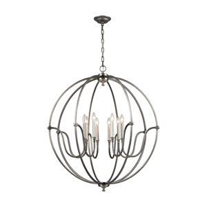 Stanton Weathered Zinc and Brushed Nickel 35-Inch Eight-Light Chandelier