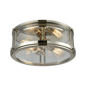 Coby Polished Nickel 13-Inch Two-Light Flush Mount