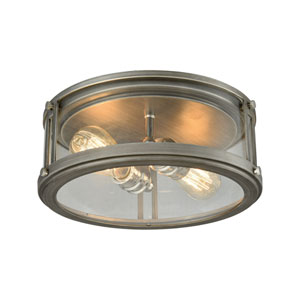 Coby Weathered Zinc and Polished Nickel 13-Inch Two-Light Flush Mount