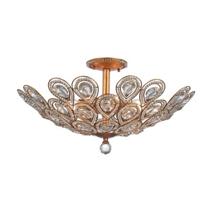 Evolve Matte Gold 24-Inch Eight-Light Semi-Flush Mount