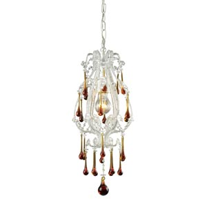 Opulence Antique White One-Light Mini Pendant with Amber Crystals