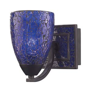 Vanity Rust Blue Crackle One-Light Sconce