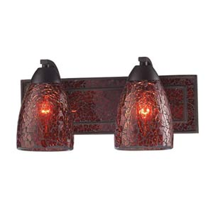 Vanity Rust Red Crackle Two-Light Sconce