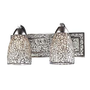 Vanity Silver White Crackle Two-Light Sconce