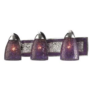 Vanity Silver Purple Crackle Three-Light Bath Fixture