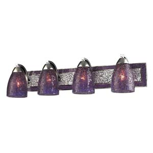 Vanity Silver Purple Crackle Four-Light Bath Fixture