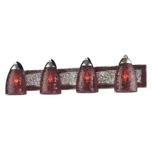 Vanity Silver Red Crackle Four-Light Bath Fixture