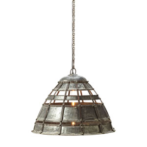 Fortress Distressed Silver One-Light 22-Inch Pendant