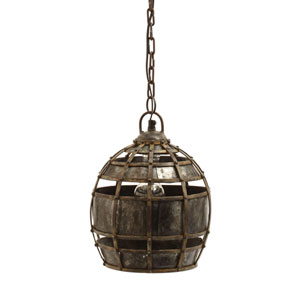 Fortress Distressed Silver One-Light Nine-Inch Mini Pendant