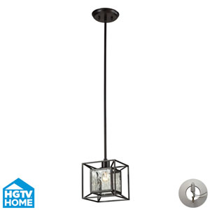 Cubix Oiled Bronze One Light Pendant w/ An Adapter Kit