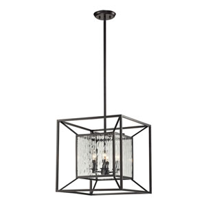 Cubix Four Light Pendant In Oiled Bronze