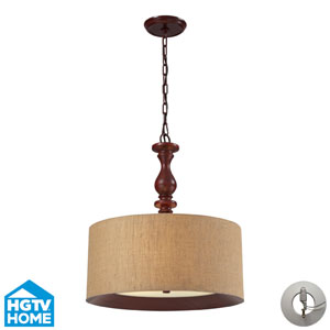 Nathan Three Light Pendant In Dark Walnut Includes w/ An Adapter Kit