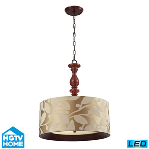 Nathan Three Light LED Pendant In Dark Walnut