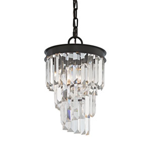Palacial Oil Rubbed Bronze 12-Inch One-Light Mini Pendant with Clear Crystal